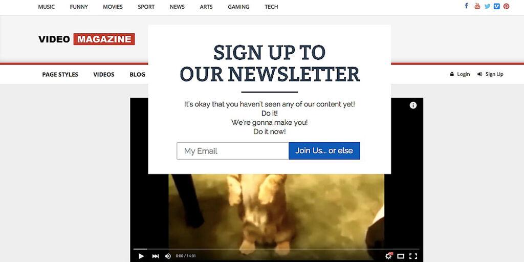 Irrelevant Newsletter Pop-Ups - Outdated Website